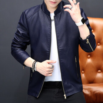 Features Korean Style Men Slim Fit Youth Mens Leather Jacket Leather