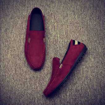 Men's Korean-style Solid Color Low Top Casual Shoes (Red) ...
