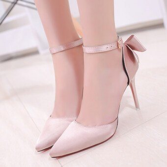Korean-style pointed thin heeled fashion shoes sexy high-heeled shoes (Pink) (Pink)
