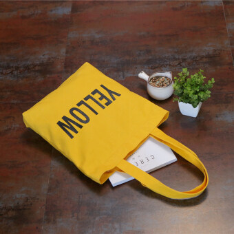 Korean style simple lettered printed large capacity shoulder bag (Yellow YELLOW) (Yellow YELLOW)