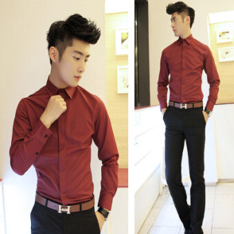 Features Groom Casual Costume Mens Wedding Clothing Shirt Slim Fit
