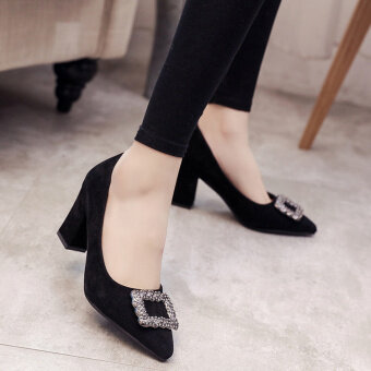 Korean-style Women's Pointed Toe Shallow Mouth Rhinestone-decorated High-heels (Black nude models) - 2