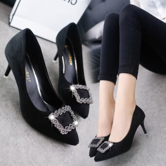 Korean-style Women's Rhinestone-decorated Pointed Toe Square Buckle Suede Stiletto (Black) - 2