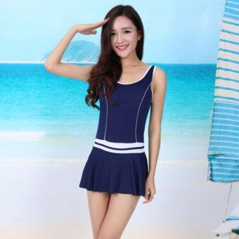Harga Korean Style Women's Sleeveless One-piece Swimsuits ConservativeSwimming Wear For Young Lady HSWS004 Navy Blue