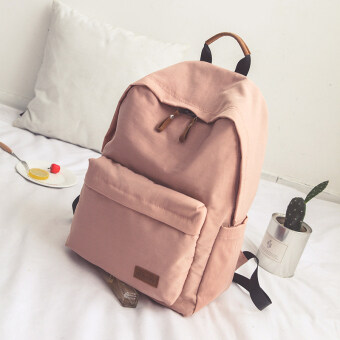 Korean version of Harajuku solid color large capacity shoulder bag canvas high school students schoolbag Junior High School casual College Wind backpack