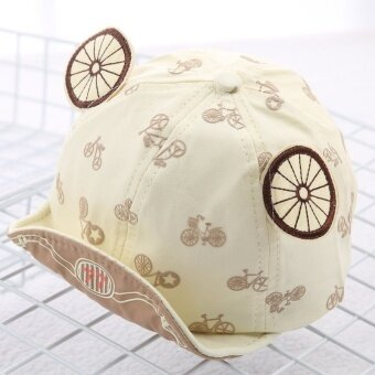 Korean version of the influx of spring and summer fashion wild cartoon images children bumao sun visor cap for men and women baby princess (Reference age 8-20 months + About 46-50 cm + Beige) - intl