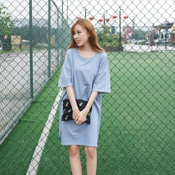 Korean version of the new summer women simple loose casual slit dress fifth sleeve t-shirt and long sections influx of students (Blue)