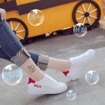 Korean Women Flat Shoes Lace-up Letters Printing Sneakers Cik sneakers  Kasut skateboard wanita Womens c3b4c94fb6