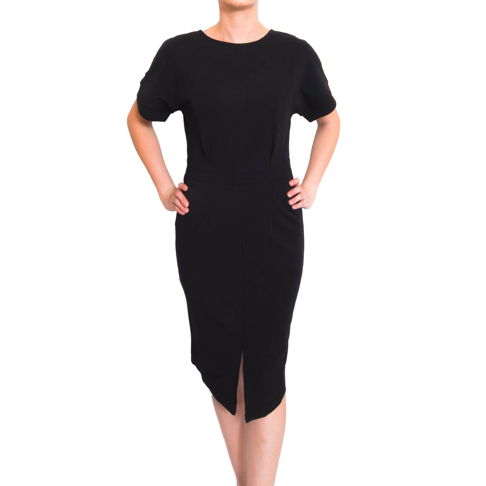 Kory & Lanza Lantern Sleeve bodycon dress in Black