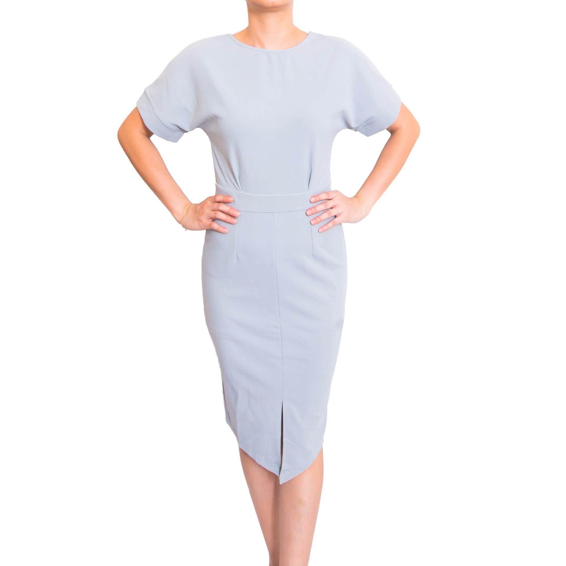 Kory & Lanza Lantern Sleeve bodycon dress in Grey