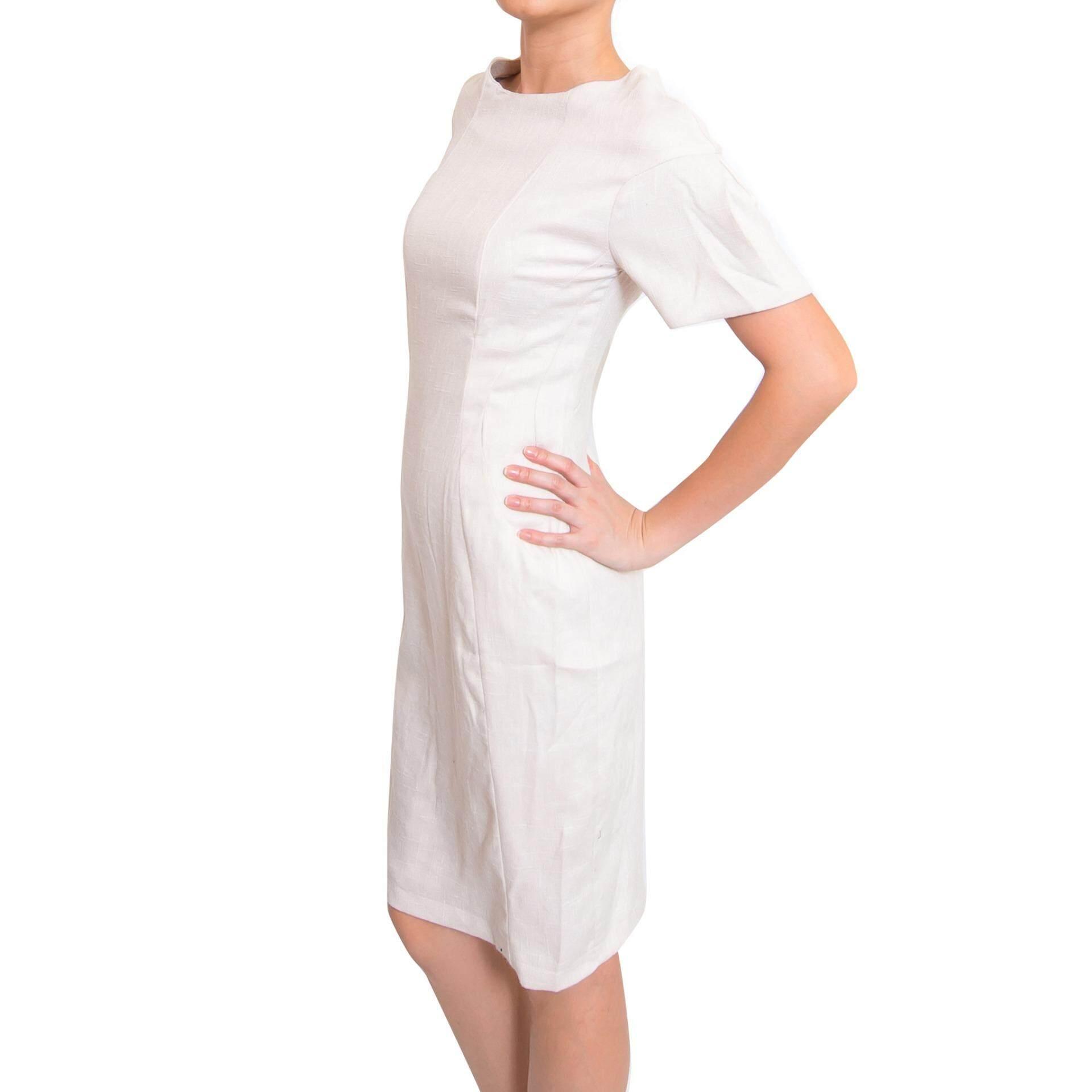 Kory & Lanza Lantern Sleeve Lady Dress in Beige