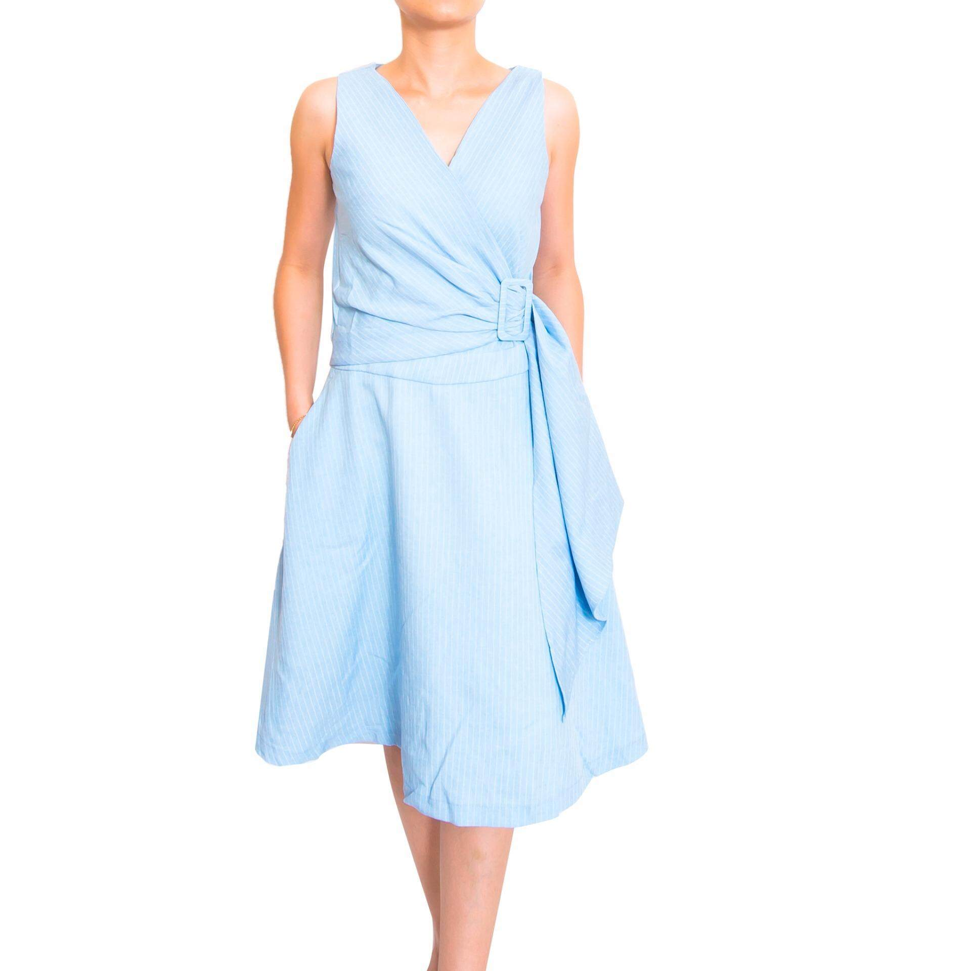 Kory & Lanza Lines with Unique Waist Deco Style Swing Dress in Blue