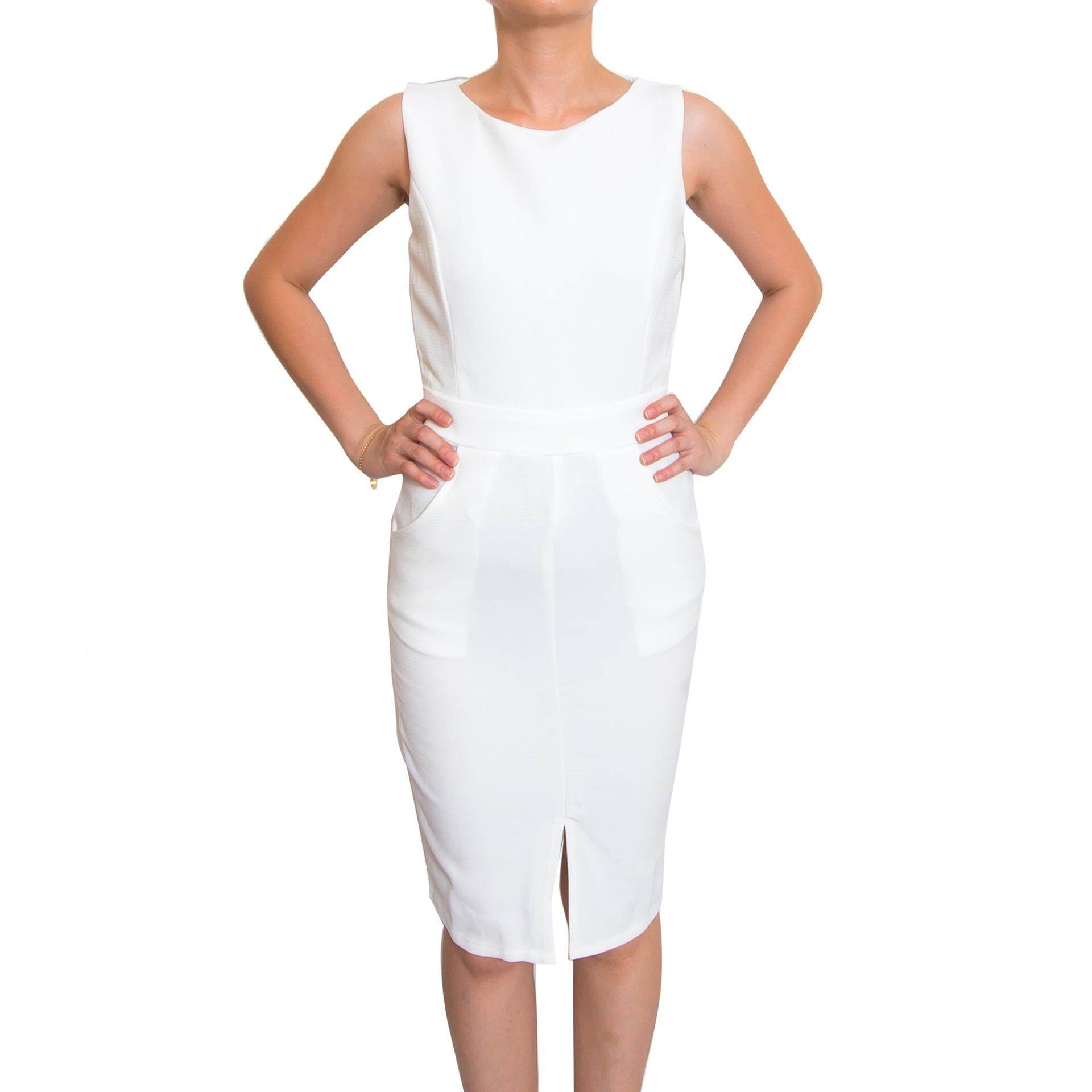 Kory & Lanza Little Lady Dress with Pocket in White