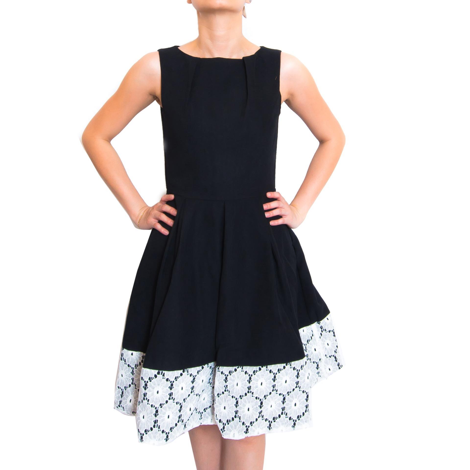 Kory & Lanza Multi-Layer Lace Swing Dress  in Black