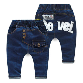 Harga Kz-7455 Plus velvet New style thick Baobao pants children's jeans (Blue (spring and autumn))