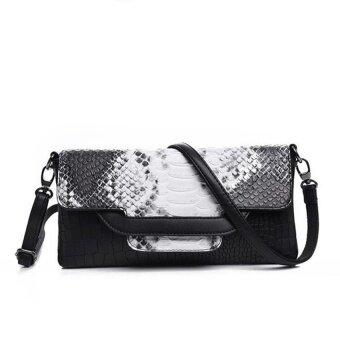 Desainer Wanita Silang Badan Tas Modis Gaya Barat Crocodilepattern Handbagwristlet (Hitam dan Putih)-Internasional
