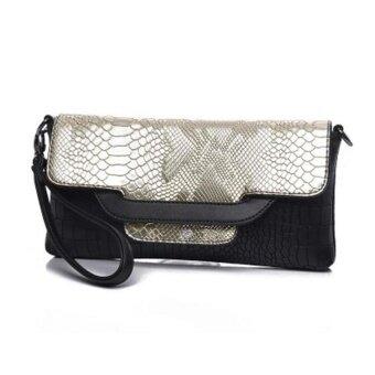 Desainer Wanita Silang Badan Tas Modis Gaya Barat Crocodilepattern Handbagwristlet (Platinum)-Internasional