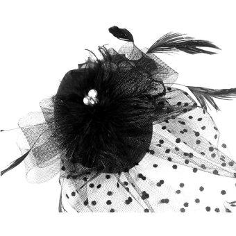 Harga Lady Fascinator Feather Headdress Hair Clip Hat Cocktail Hat WithFabric Flower Polka Dot Net Lace Veil (Black) - Intl