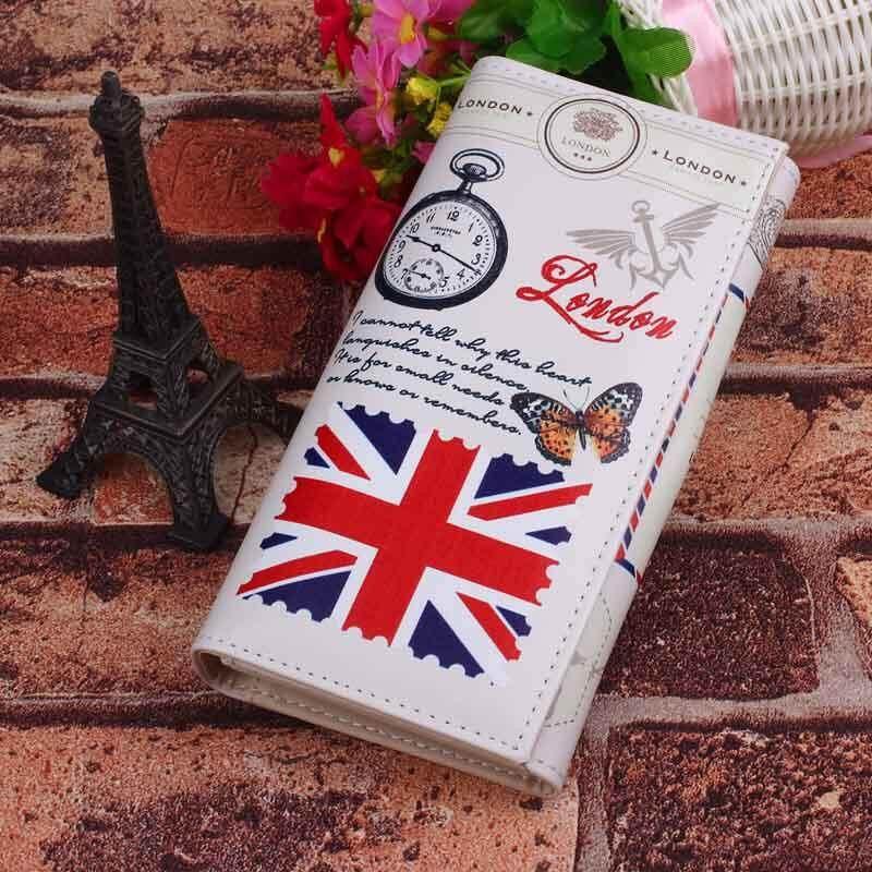 Lady Long Design Purse Clutch Fashion Wallet Printing Bag Card Case National Flag M Word - Rice - intl