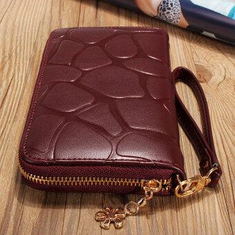 Lady Women Leather Long Clutch Wallet Card Holder Case PurseHandbag Phone Bag Wine Red