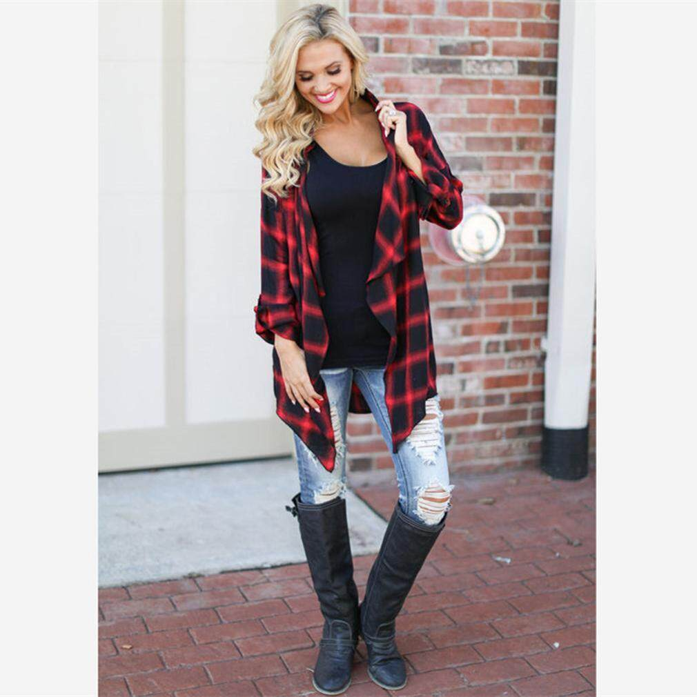 LALANG Women Cardigan Red Plaid Streetstyle Long Sleeve Female Outwear Loose Tops - intl