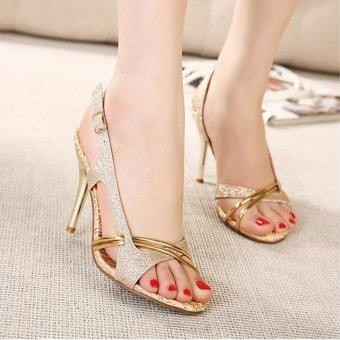 Harga LCFU764 The new high heels ladies sandals Golden cross dance shoes