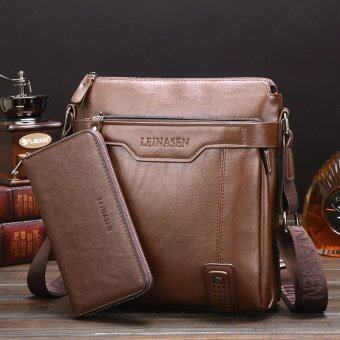 Harga Leather Handbag High Quality Crossbody Bag Satchel Bag Vertical Section Male Korean Leisure Calfskin Business Messenger Bag (Brown /1 Wallet Inside)