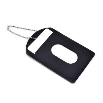 Leather Id Badge Card Holder Pu Case With Color Border Lanyard Keychain Gift Black
