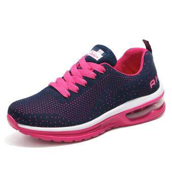 Harga Lechgo Lovers Fashion Running shoes Women Air Cushion LightBreathable Fly Wire Sport shoes (Blue&Red) NYY106