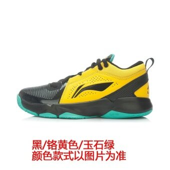 LI-NING damping wear and low top sports shoes basketball shoes (New basic black/flourescent light green)