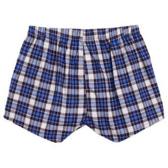 Linemart Ekouaer Men Boxer Mesh Patchwork Print Soft Medium Waist Daily Underwear Pack of 2 ( Blue ) - 4