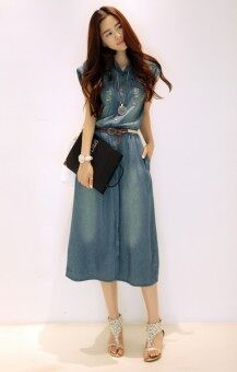 Harga Long Korean Styled Denim Dress