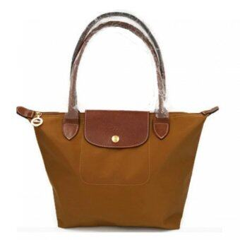 Longchamp Le Pliage Long Handle Medium (Saddle Brown)