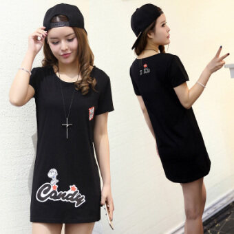LOOESN Korean-style female mid-length student Top white short sleeved t-shirt (302 Snoopy back on the lettered black)