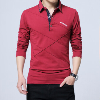 Loose cotton men long-sleeved Fold-down collar bottoming shirt T-shirt (1182 red) (1182 red)