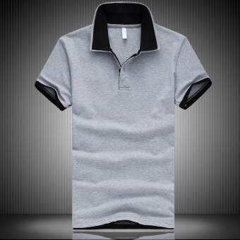 Loose cotton Plus-sized Fold-down collar polo shirt solid color short sleeved t-shirt (Gray) (Gray)