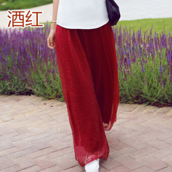 Chiffon Loose And Plus-sized High-waisted Culottes Wide-Leg Pants