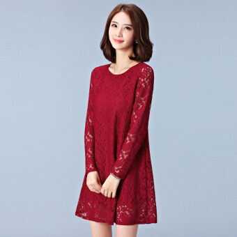 Loose Korean-style New style porous long-sleeved dress (Red)
