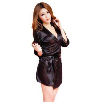 Loveena Ice Silk Robe Sexy Pyjamas Lingerie Sleepwear L3038-B (Black) - 2