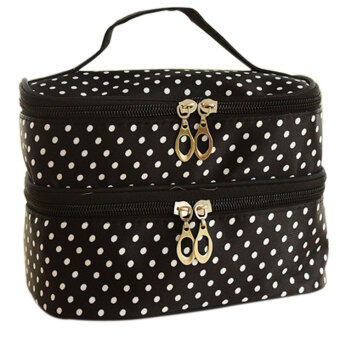 Harga Lovely Large Capacity Double Cosmetic Bag (Black)