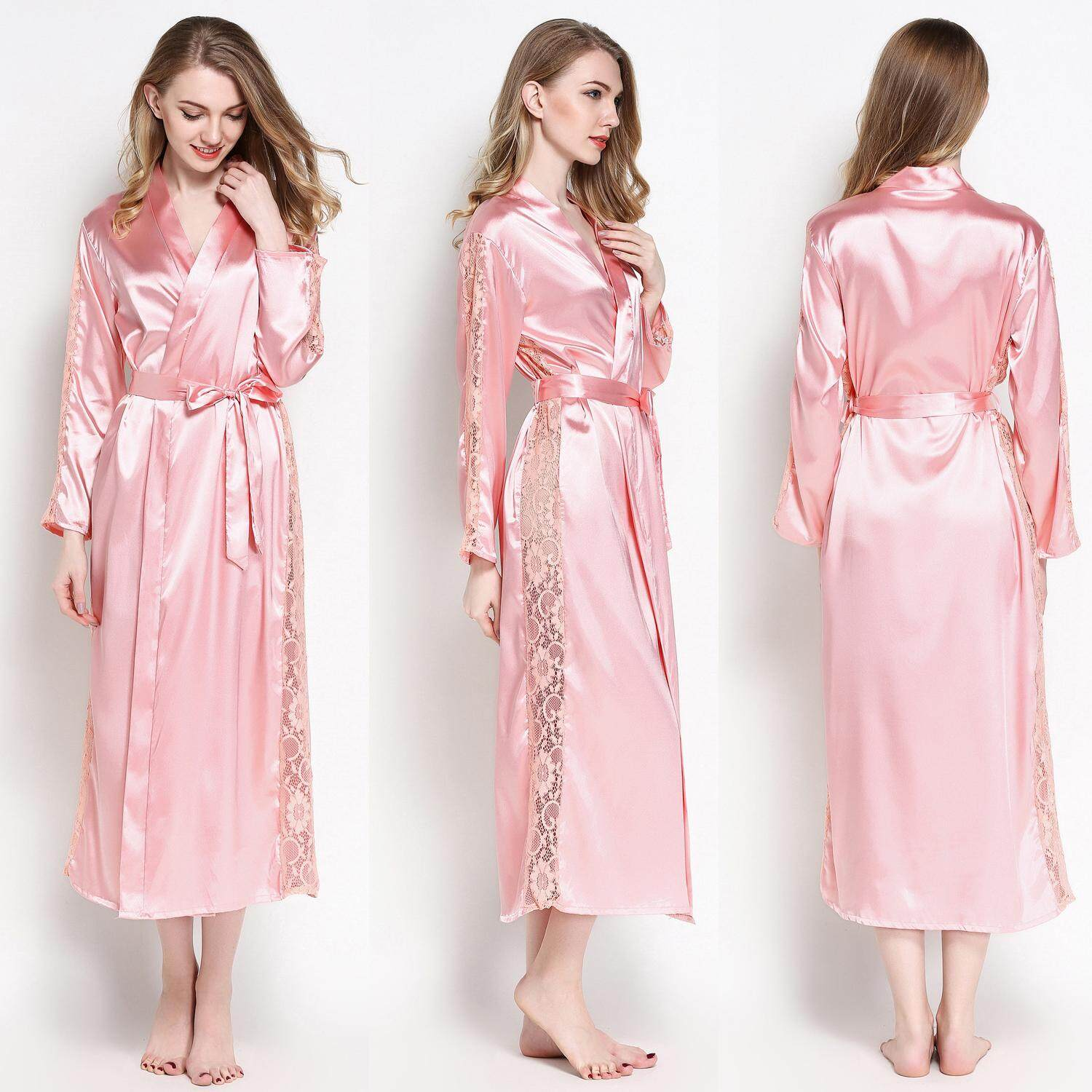Loveu Store Women's Robe Maxi Dress Long Sleeve Nightgown Bridesmaid Dresses Pajamas Party Comfort Silk Feel Bathrobe Lounge Wear Home Wear Best Valentine Lover Gift Birthday Gift Lingerie for Girl Lady Women - intl