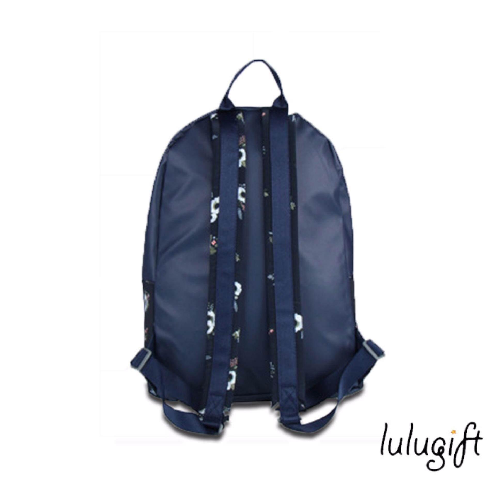 Lulugift Floral Casual WaterProof Backpack Black flowers
