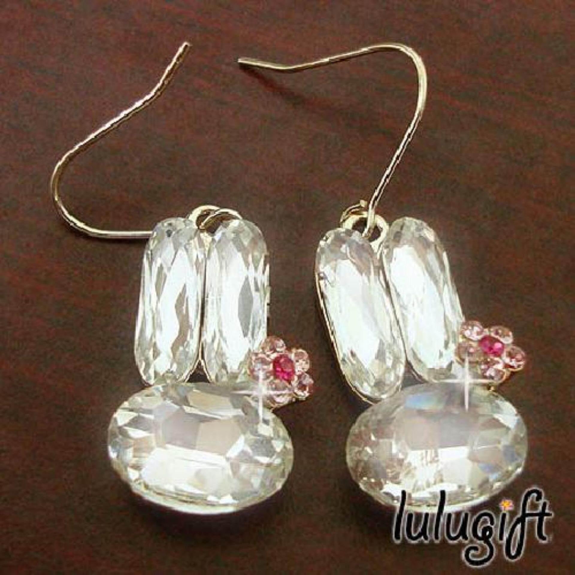 86ee2d20d Lulugift Korean Design Beautiful Bunny Gems Swarovski Earring e2268