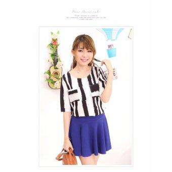 LuvClo Fancy Vertical Stripes Pockets Top (Black) - 2