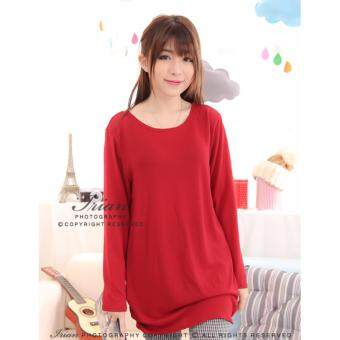 Harga LuvClo (Fit M~3XL) Plain Color Easy Matching Long Sleeves Top (Wine Red)