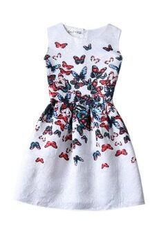 LuvClo (S~XL) Vintage Fancy Butterfly Printed Sleeveless FlareDress (White)
