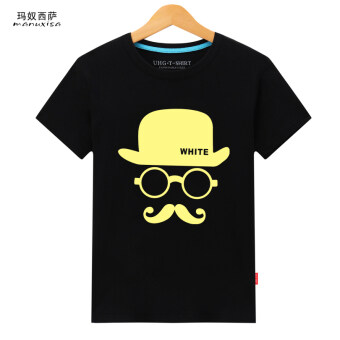 Ma slave West round neck loose character figure bottoming shirtT-shirt (Male-black beard) (Male-black beard)