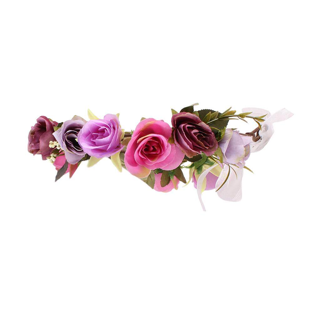 Flower crown for girls for wedding price in singapore magideal rose flower crown headband for girl wedding party festival women ladys purple intl izmirmasajfo