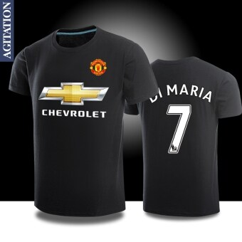 Harga Man sports Football united round neck cotton short-sleeved t-shirt(Manchester United black 7)
