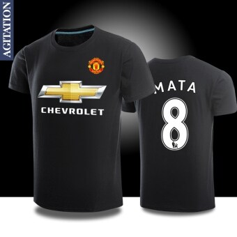 Harga Man sports Football united round neck cotton short-sleeved t-shirt(Manchester United black 8)